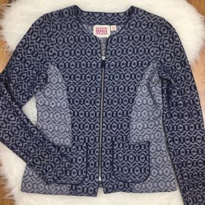 Anthropologie Rosie Neira Blue Geometric Jacket